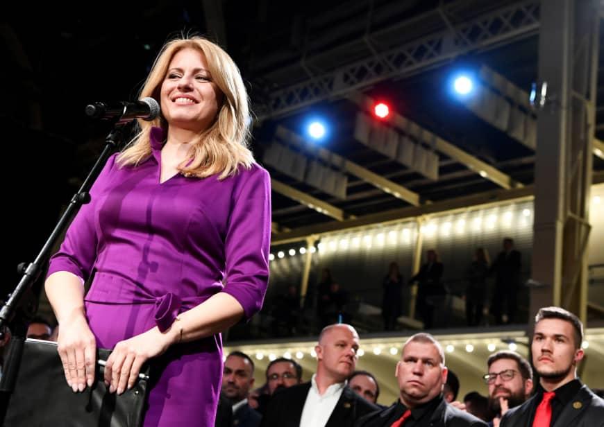 Zuzana Čaputová thanking her supporters after winning the presidency bid, in her team's headquarters. CREDIT: RADOVAN STOKLASA/REUTERS