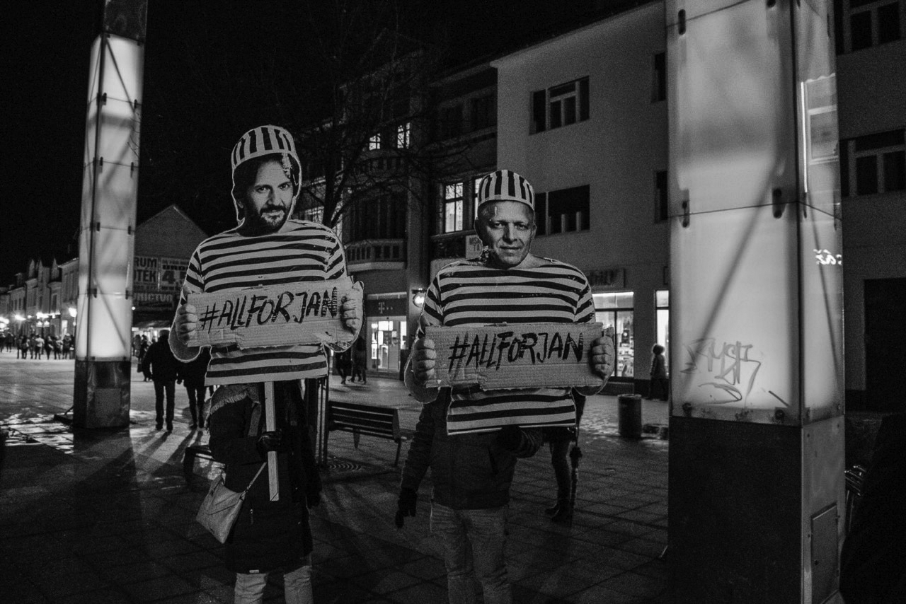 Mocking posters of Róbert Kaliňák (minister of interior) and Róbert Fico (prime minister) - both were forced to resign from their positions due to the public pressure of protests. Photo credit: Matej Bôrik