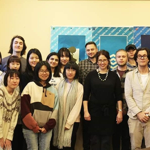 Marci Shore with students of BISLA and students from Ritsumeikan Asia PacificUniversity in Japan.