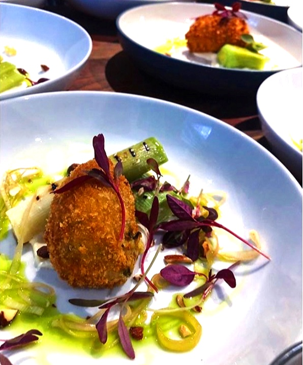 A three-way of leek for April's #MuffWham collaboration. Baby leek poached in whey, then griddled and served alongside a cheesy leek croquette, pickled leeks and a smoked creme fraiche dressing