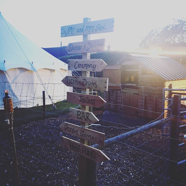 No shortage of activities last night at Tommy and Emilie's laid back festival-style wedding! Congratulations #mrandmrsfox . #band #festivalwedding #newbury #kingsclere #diywedding #summerwedding #weddingband #weddingmusic #thematchsticks #signage #beerpong #chickenfarm #tranformation