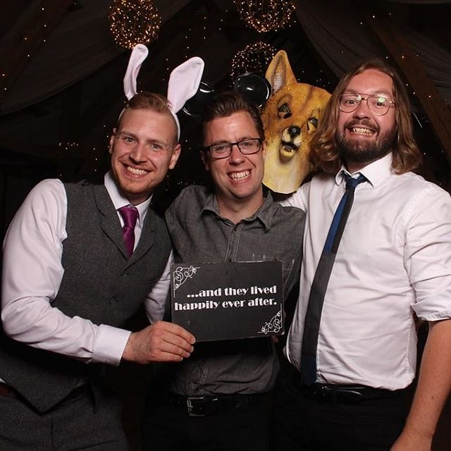 A very happy groom joining us for a selfie @bassmeadmanorbarns last night! Congratulations Luci and Lewis! . Thanks also to @picme_photobooths for the collection of awesome photo prints . #wedding #monday #weddingband #partyband #photobooth #rabbitears #foxhead #thestupidglassesareactuallymyrealglasses🤷🏼‍♂️