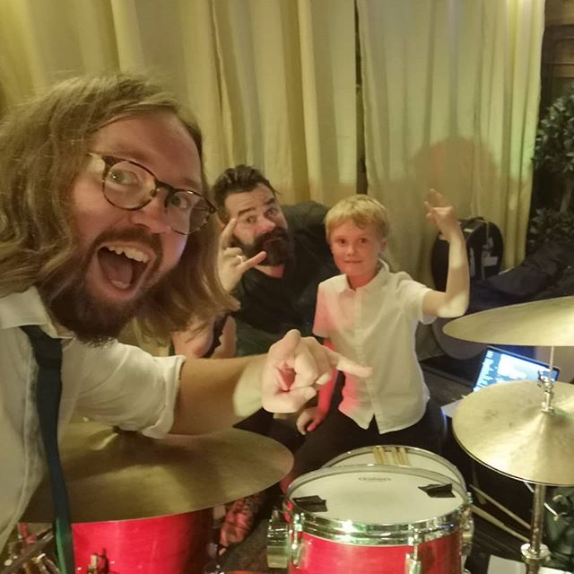 Our new pal Oscar requested We Will Rock You and he joined us to play it! Oz is sacked, you've got the job! #childprodigy #upstaged #yourefired . #weddingband #peakdistrict #wedding #peakdistrictwedding #lowerdamgatefarm #wewillrockyou #drummer