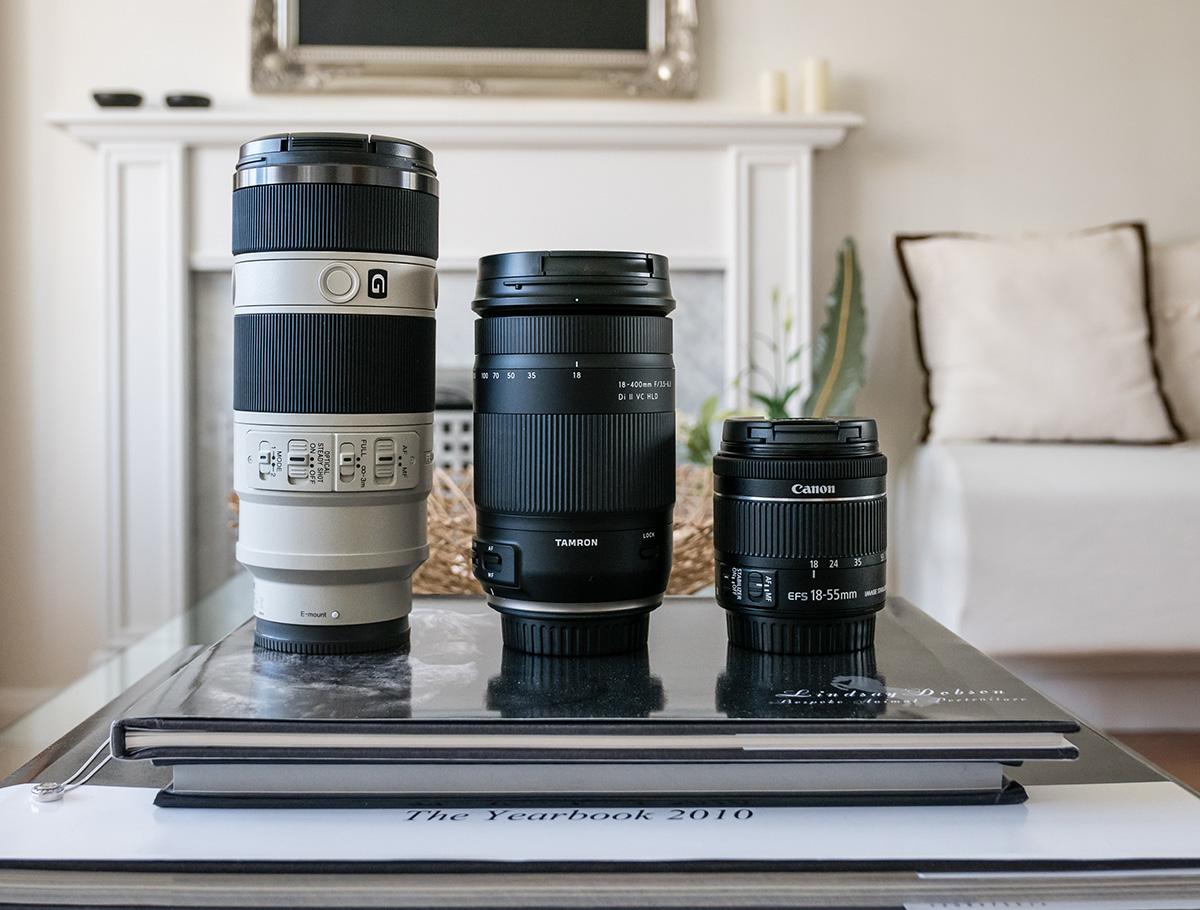 Size Comparison: Sony 70-200 F4 G, Tamron 16-300, Canon 18-55 STM