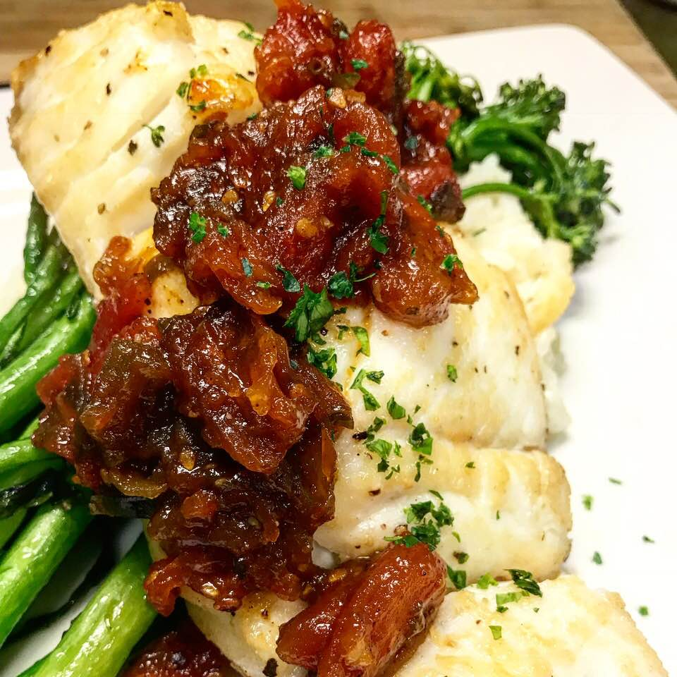 Pan roasted Alaskan halibut with a heirloom tomato jam