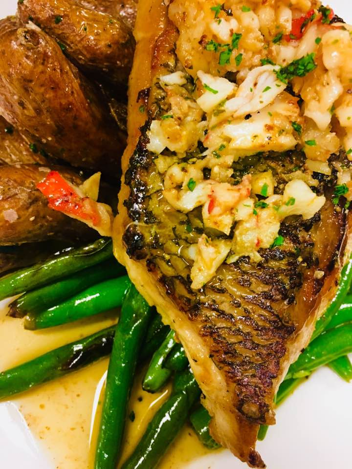 Pan seared wreck fish with a lobster butter
