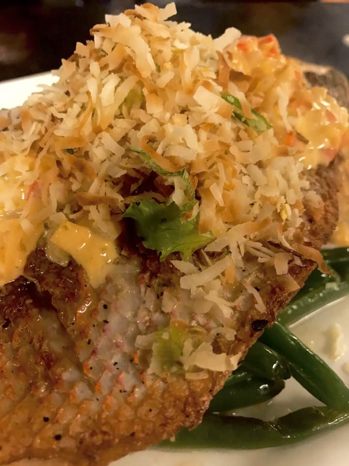 Red Thai curry snapper with toasted coconut
