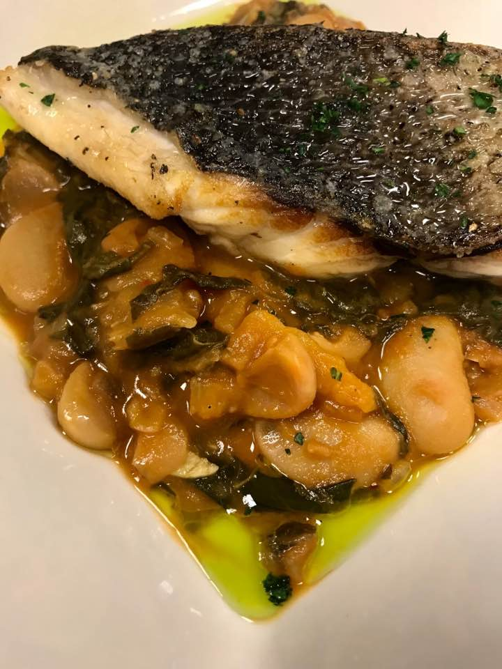 Sautéed barrel fish over white beans, bok choy, and parsley oil