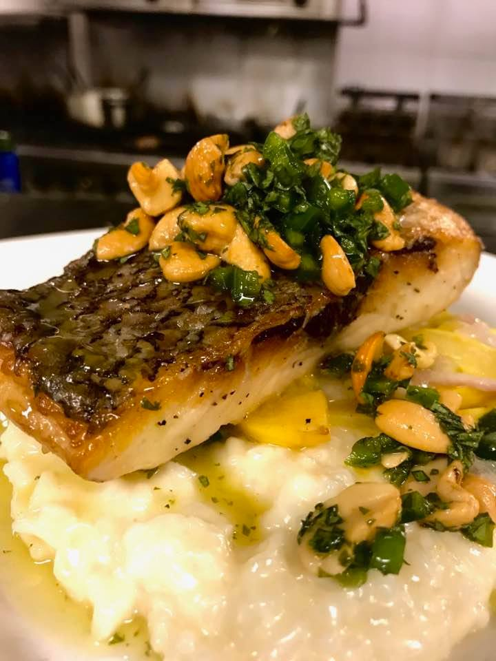 Sautéed rockfish with a cashew relish