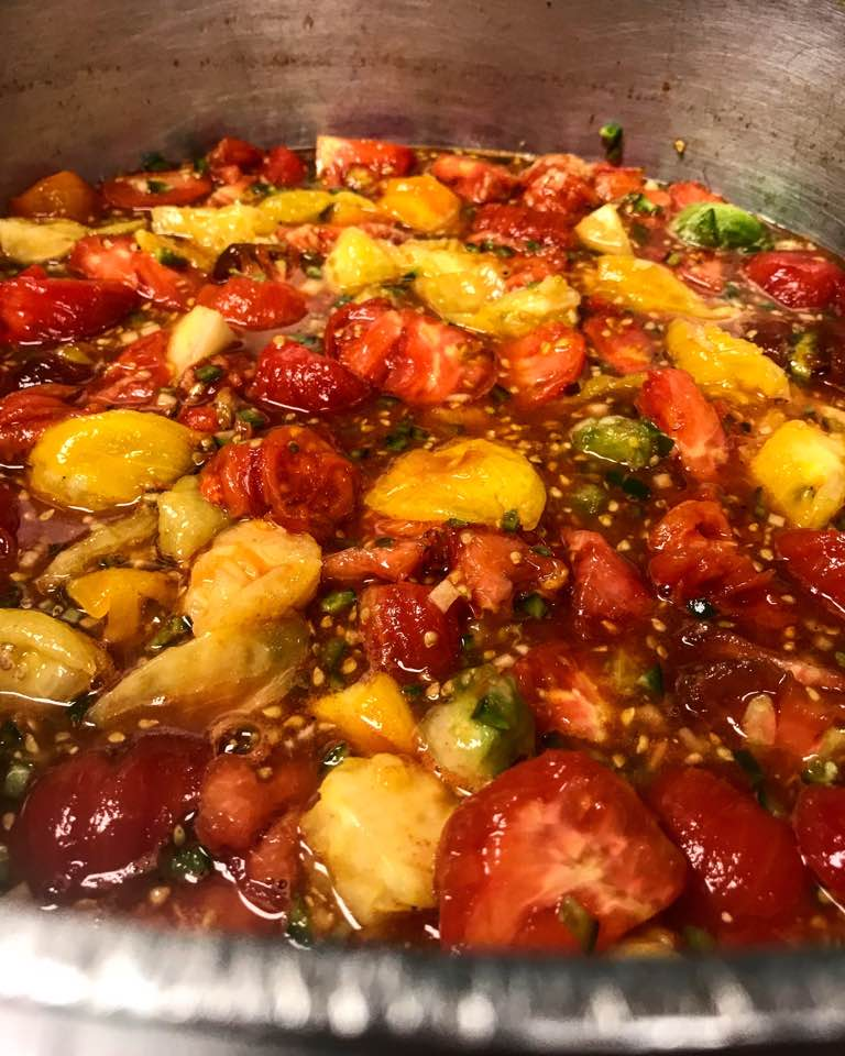 The start of a three hour process of making a local heirloom tomato jam