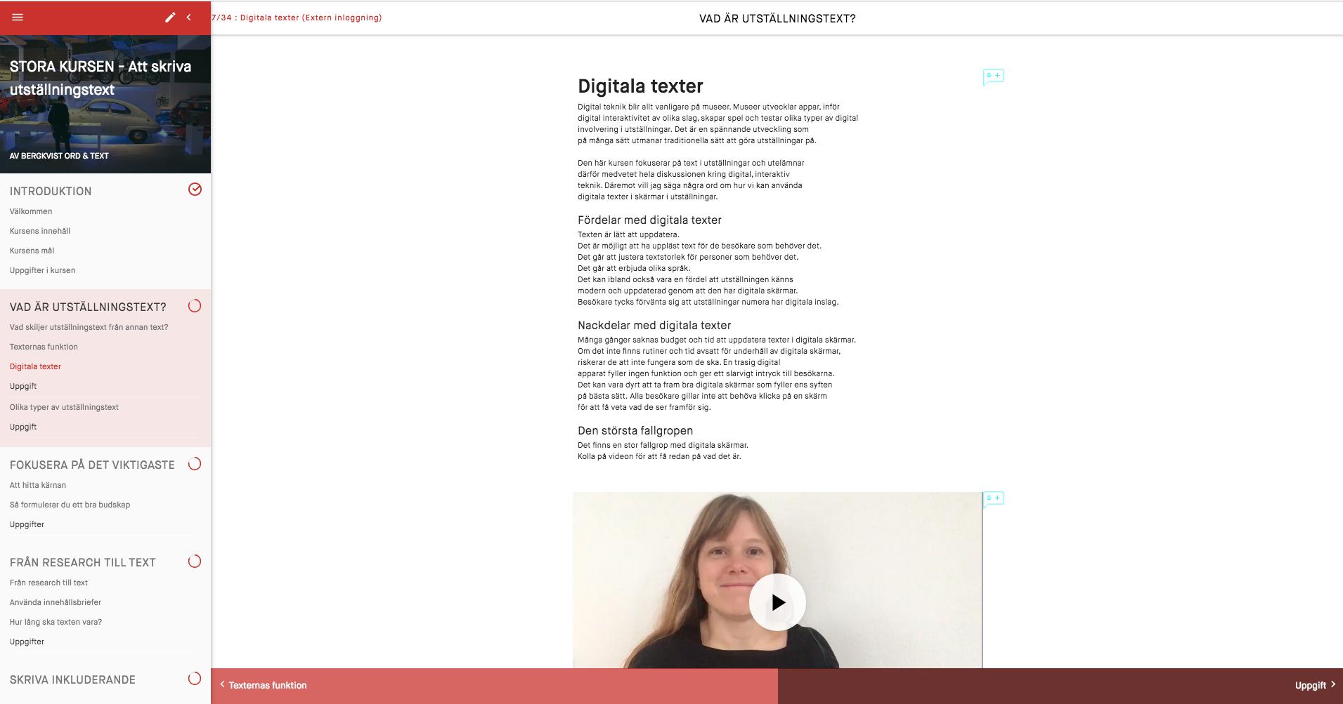 Skärmdump från webbkursen.