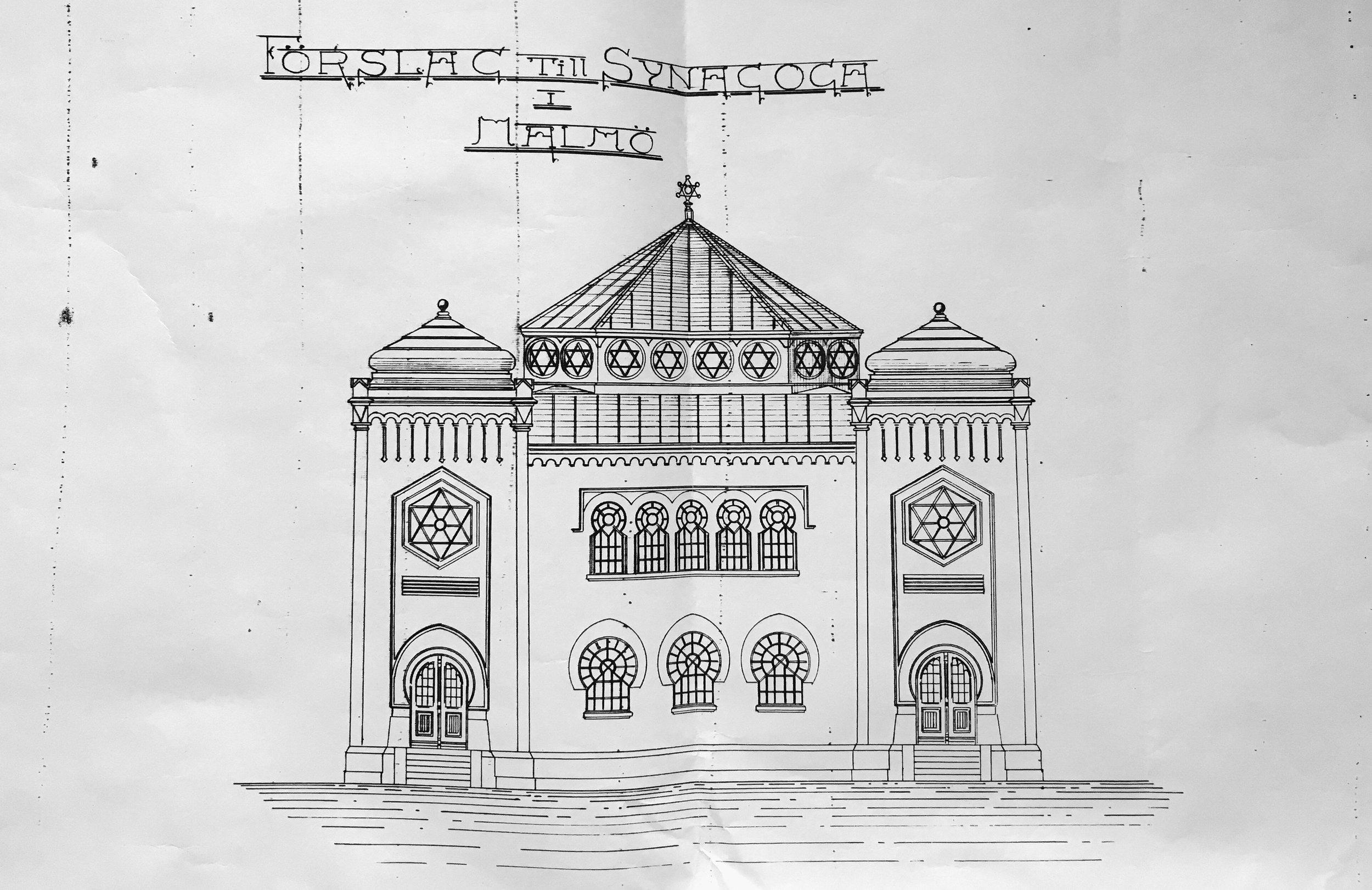 John Smedbergs ritning av Malmö Synagoga.