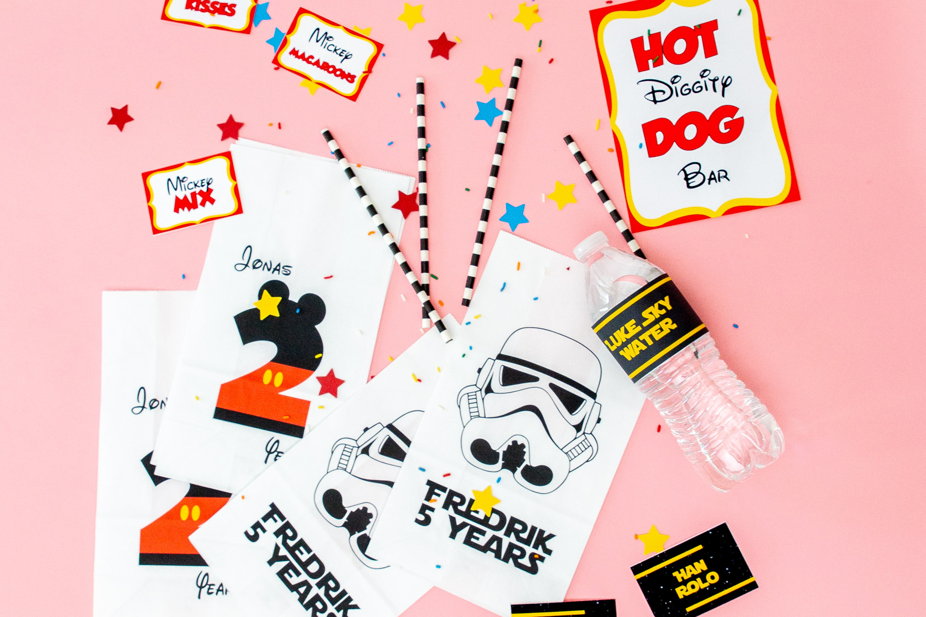 Godteposer og etiketter i Mikke Mus og Star Wars-tema.