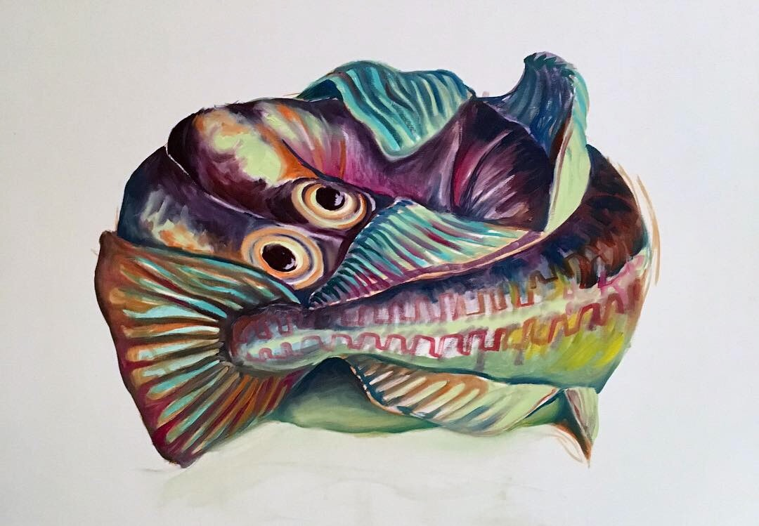 'Fish', Oil on canvas, 40 x 50cm. Made during my residency.