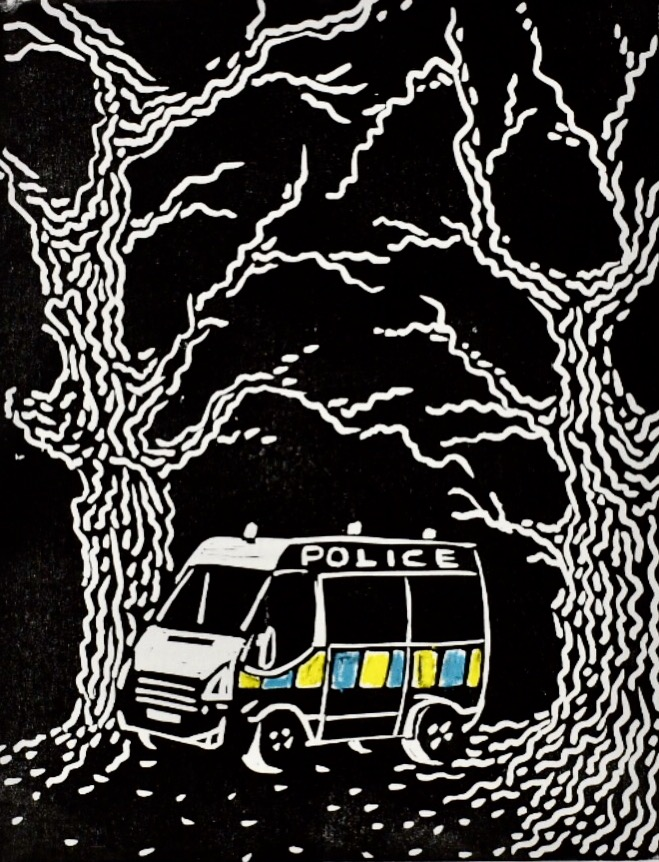 'Police' Water-soluble Crayons and Lino Print, A4