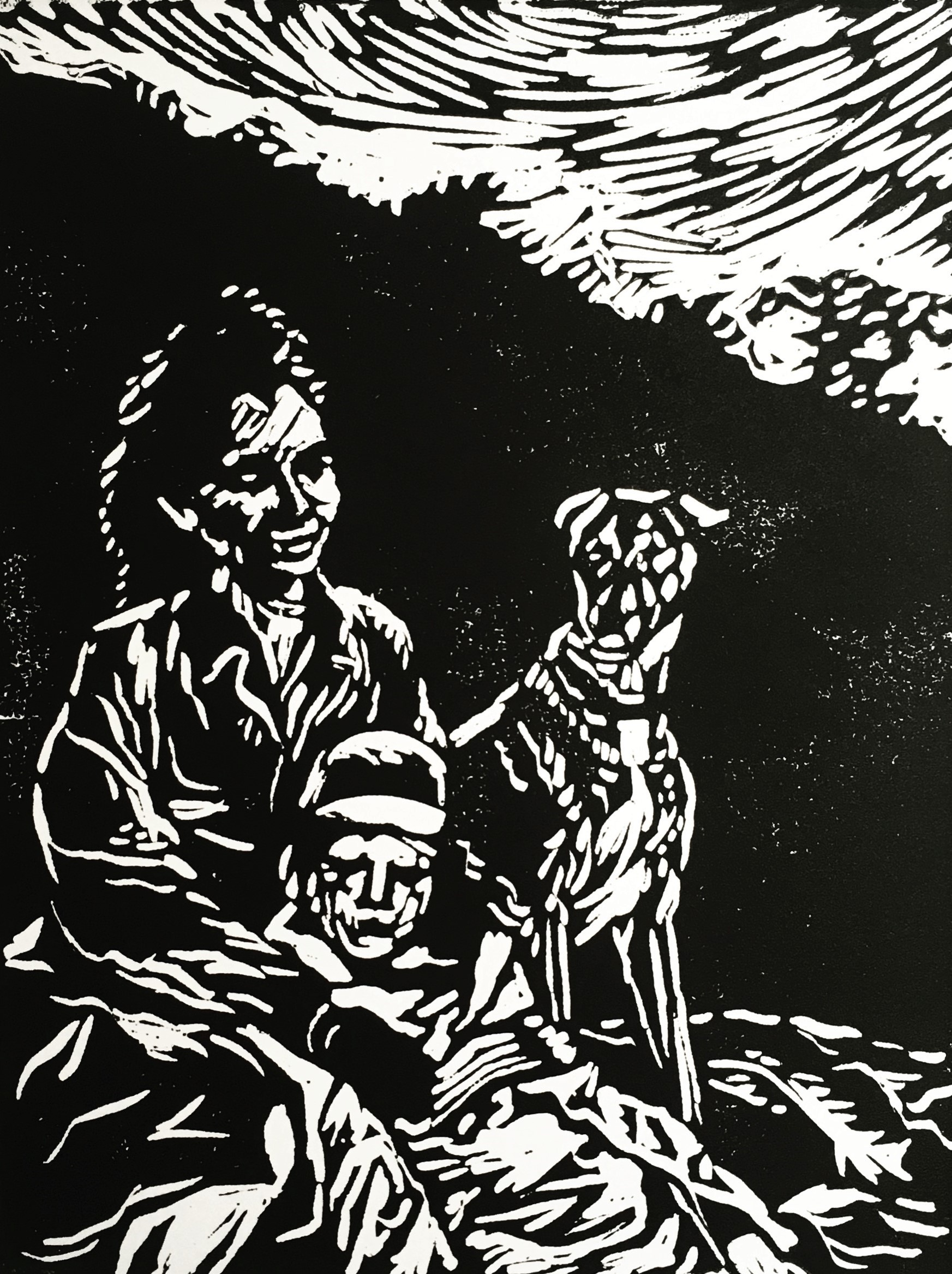 'Family Picnic on a Hill' Lino Print, A3