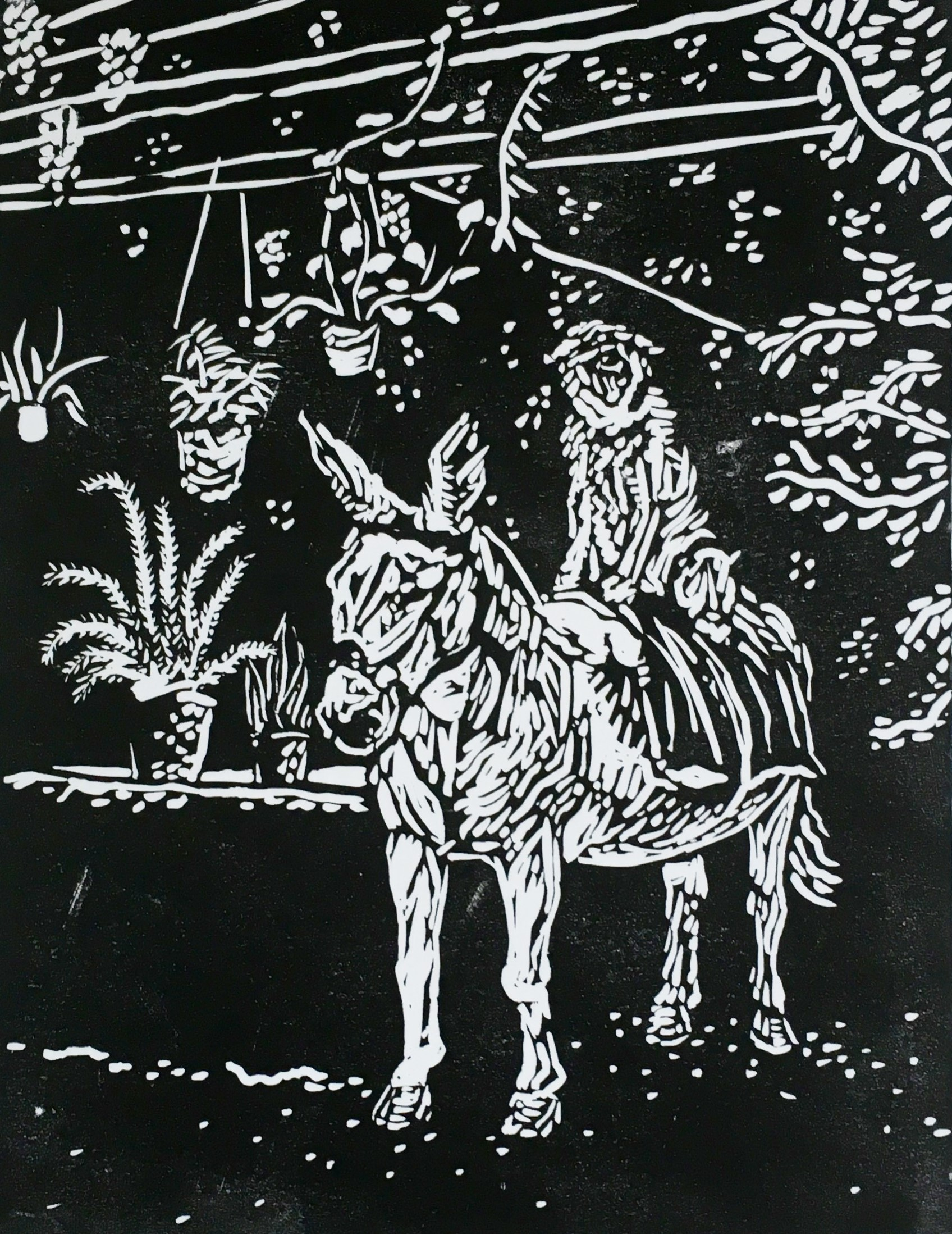 'Dog on a Donkey' Lino Print on Paper