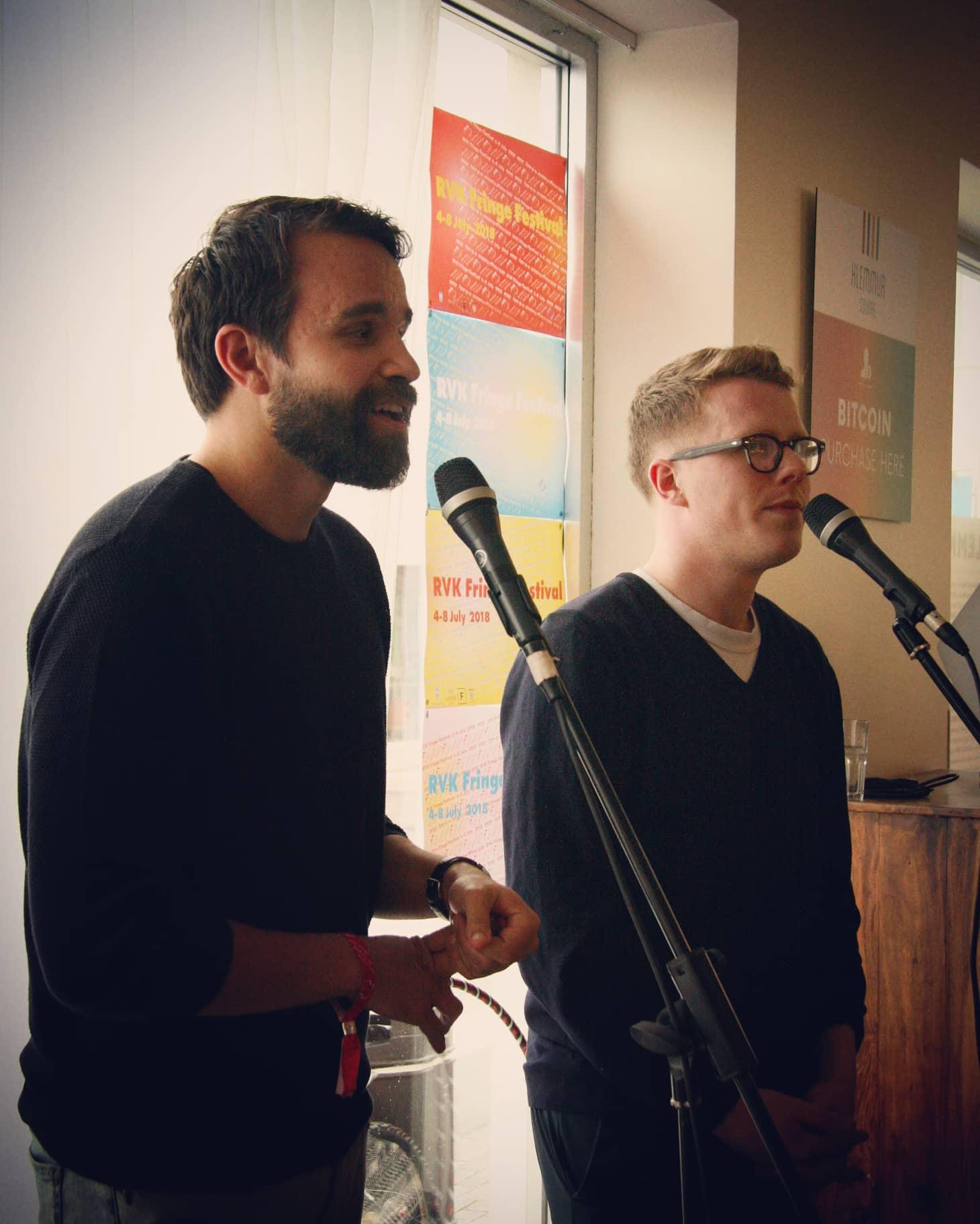 Máni Arnarsson and Ólafur Ásgeirsson from Improv Iceland. Photo by Sveinlaug Sigurðardóttir.