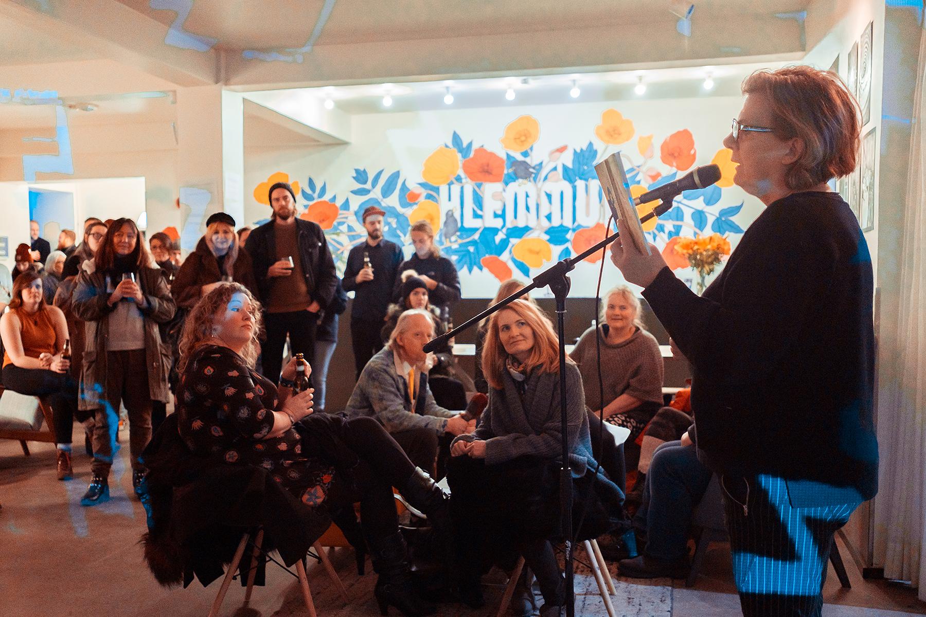 Photo by Patrik Ontkovic of Elísabet Jökulsdóttir at Halfway to Fringe party at Hlemmur Square