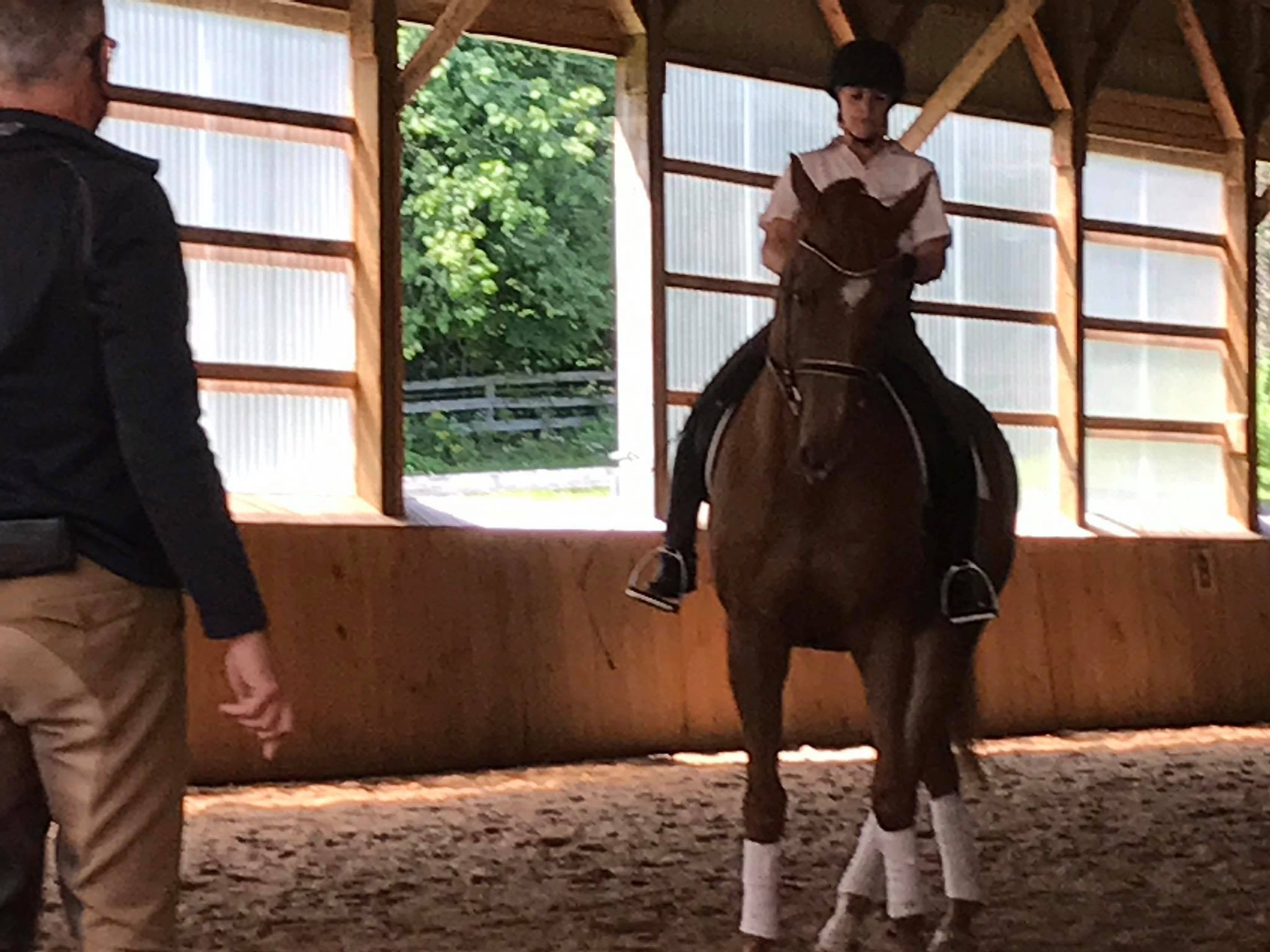 Leslie riding with Rien Van Der Schaft