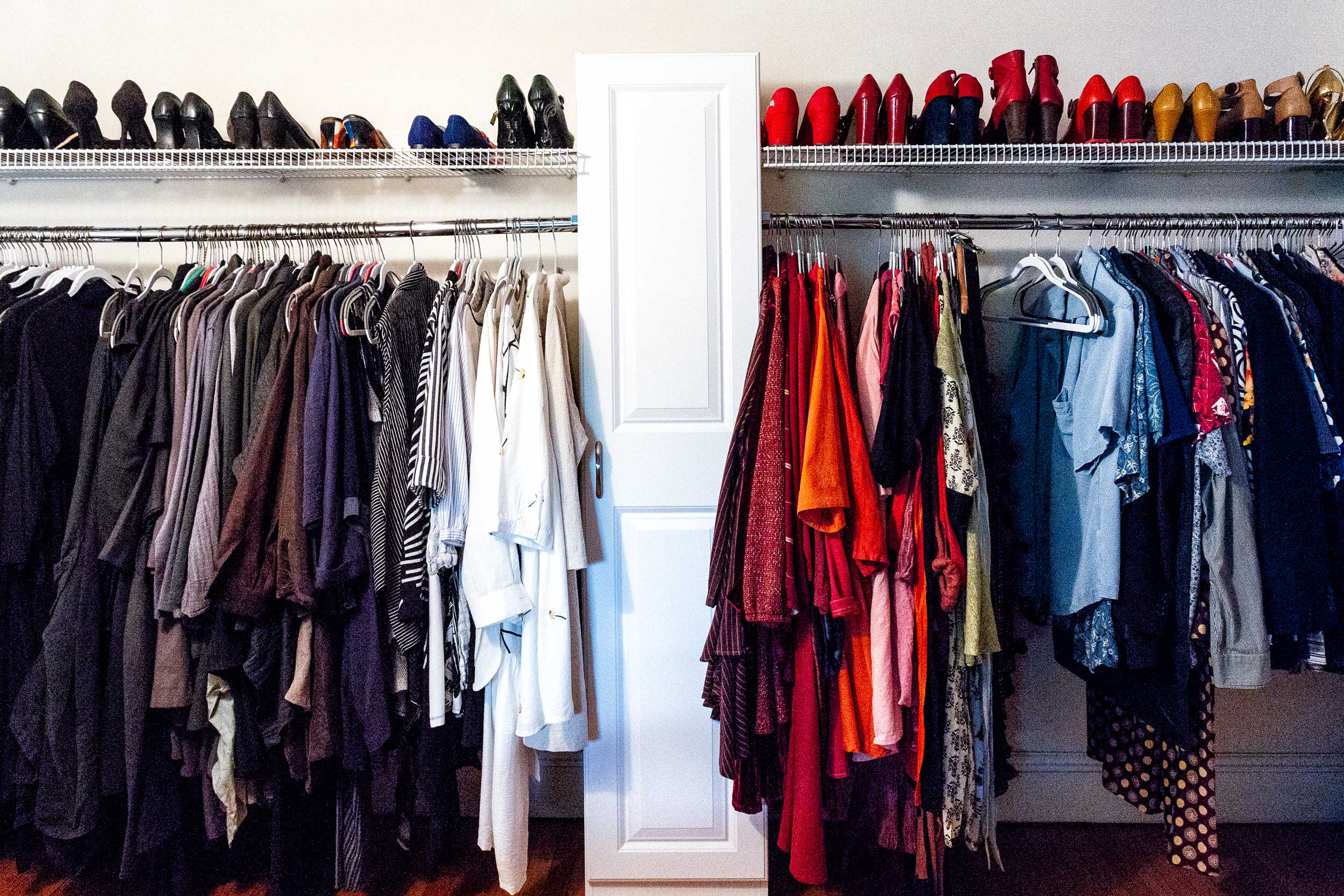 Saiber also stores her clothes in an open area of her bedroom. Just like the bathroom, she likes keeping her belongings visible to stay organized.