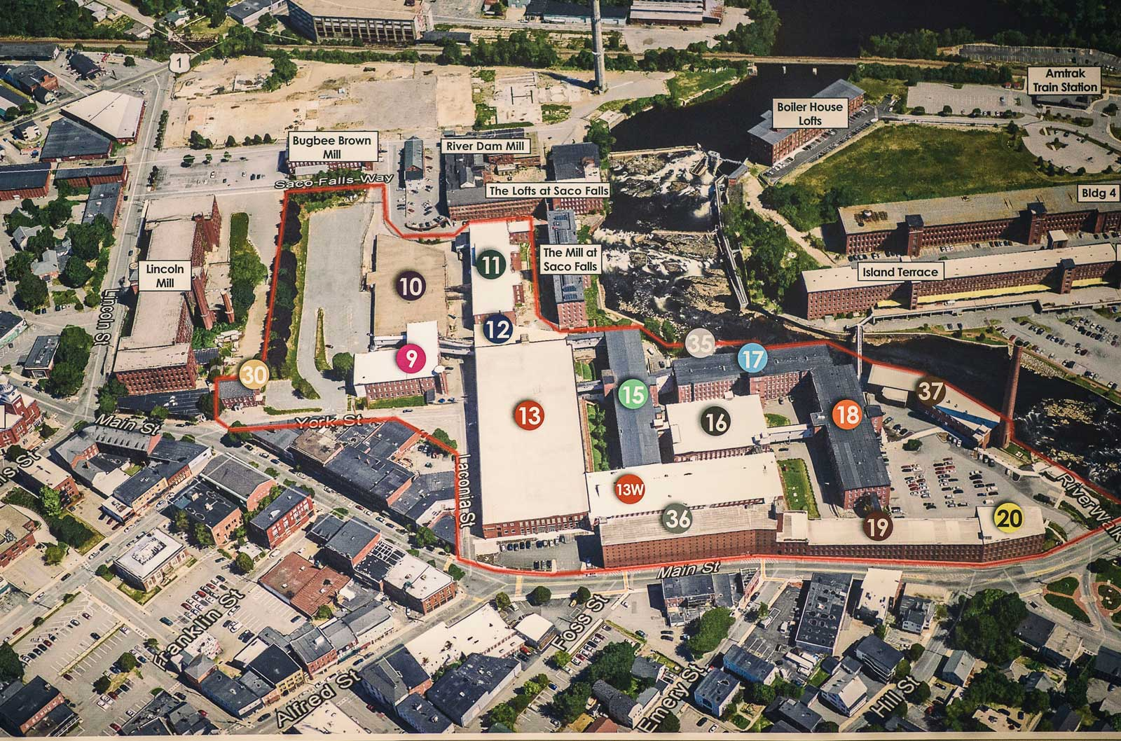 A map of Biddeford Mill Campus. The solar array encompasses 1.3 acres of rooftop on buildings 15, 17, and 18.