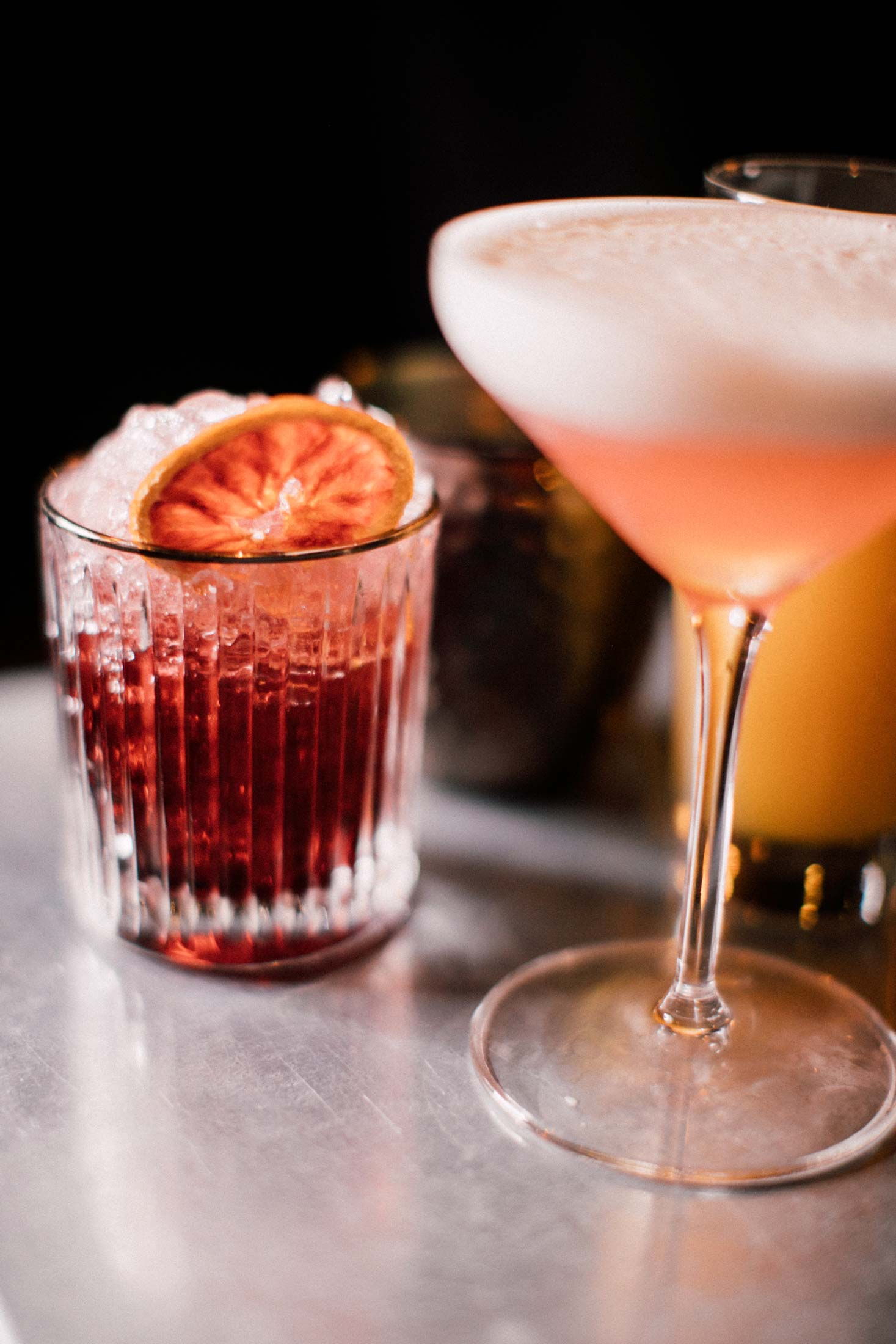 A sampling of cocktails from the inventive and ever-evolving drinks menu featuring Dyer's spirits.