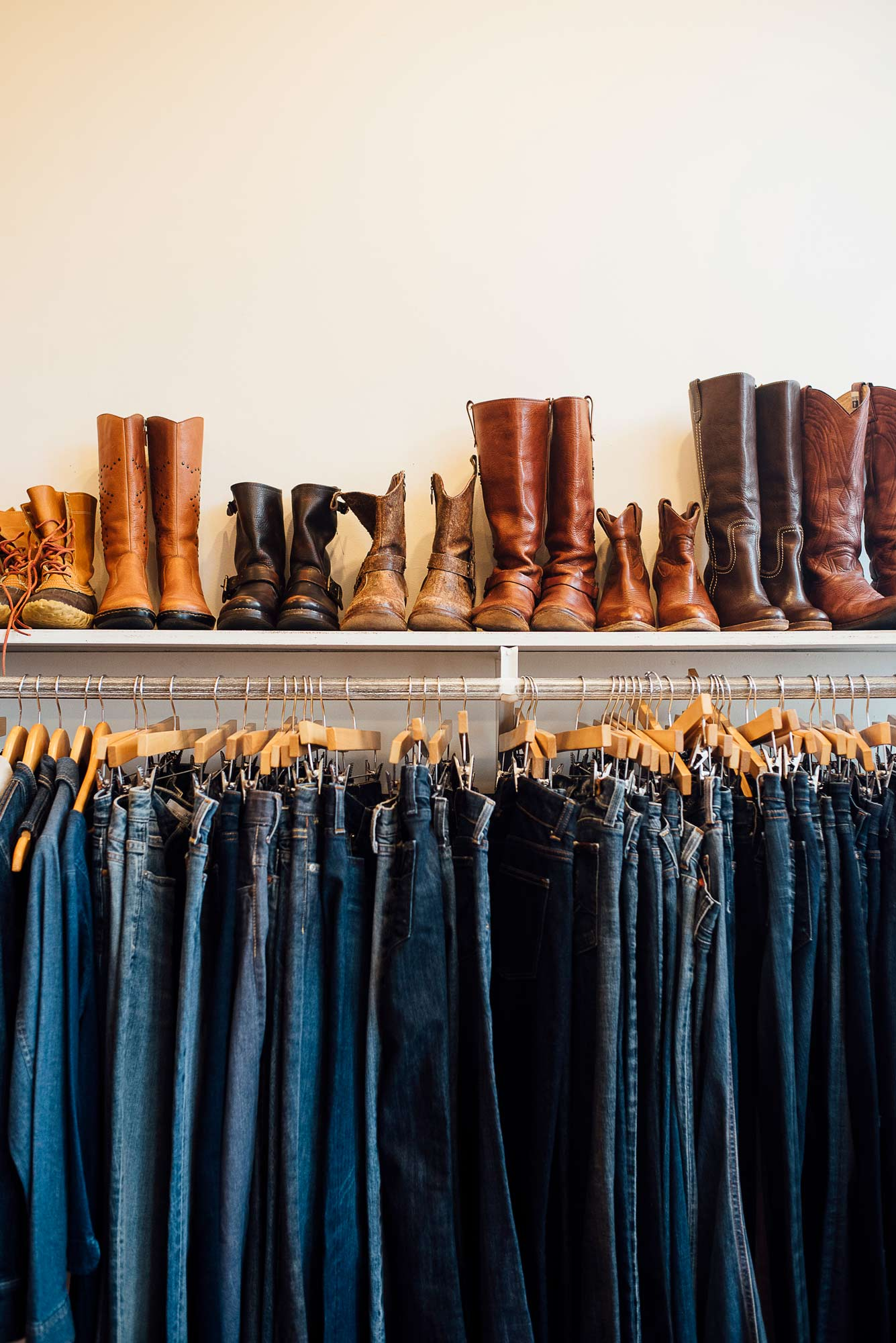 A treasure trove of jeans and boots among the stylish selections at Justine Consignment Boutique.