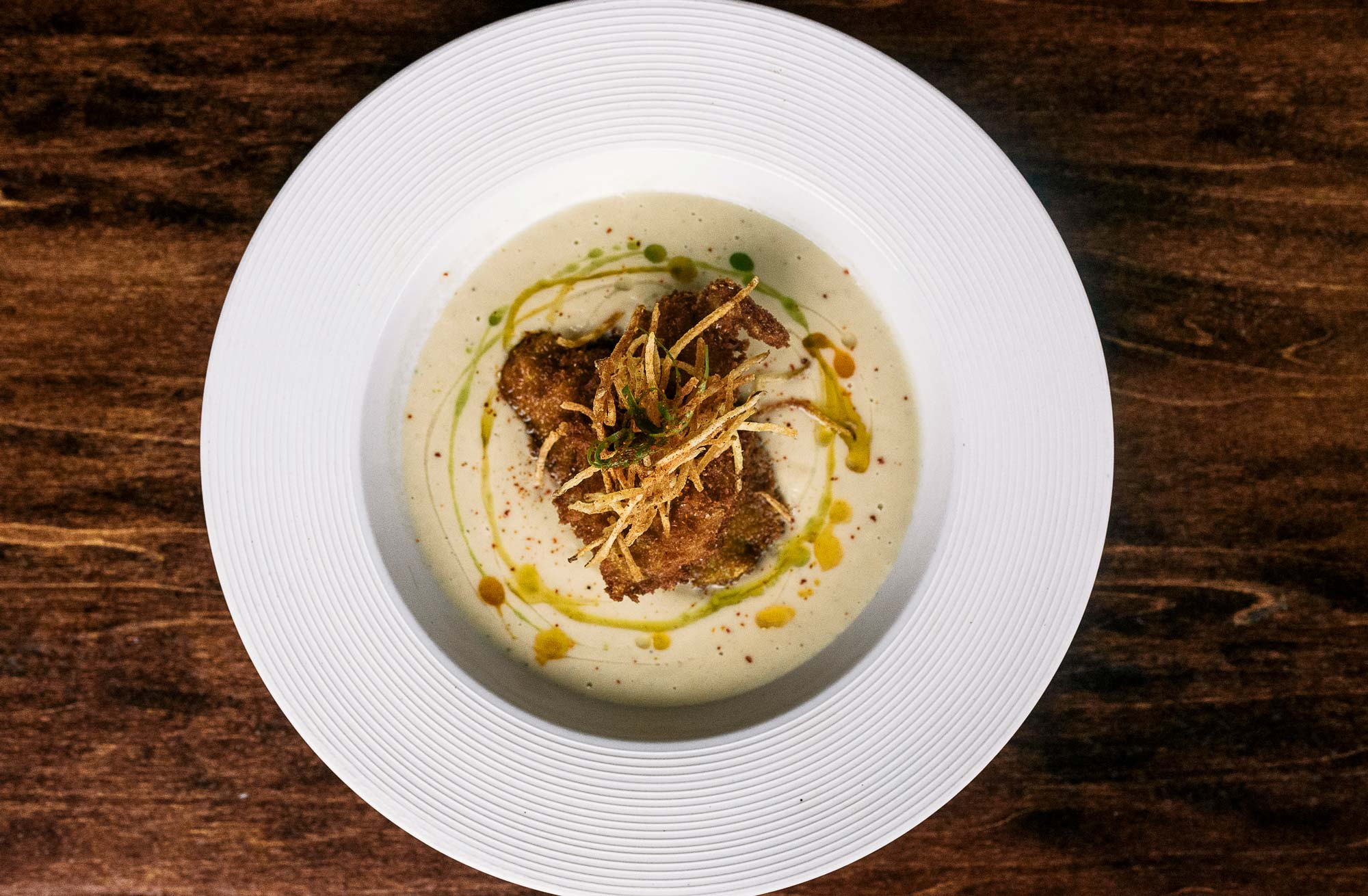Celery Root Bisque with a jumbo Fried Oyster -