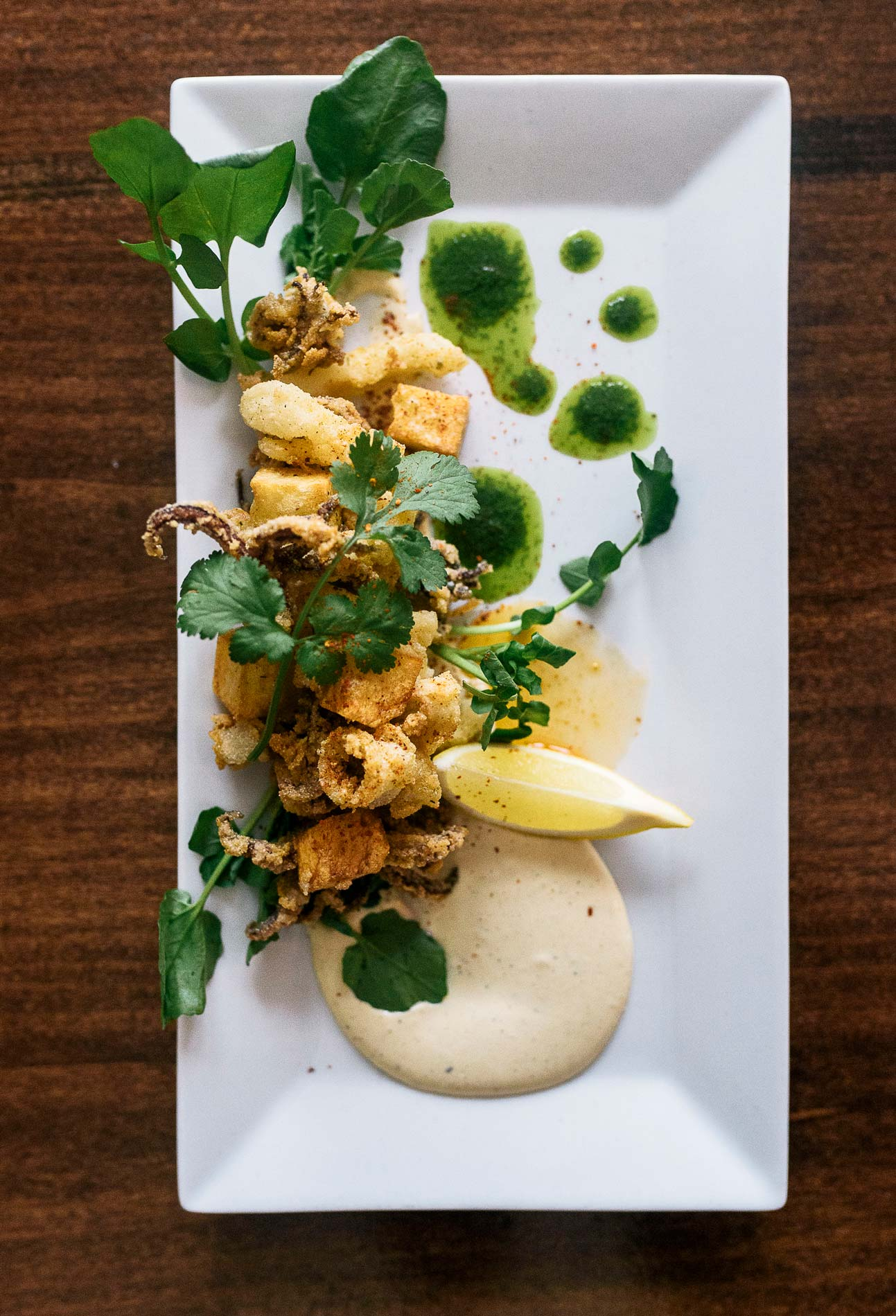 Fried Pickled Tripe and Calamari, served with papas bravas -