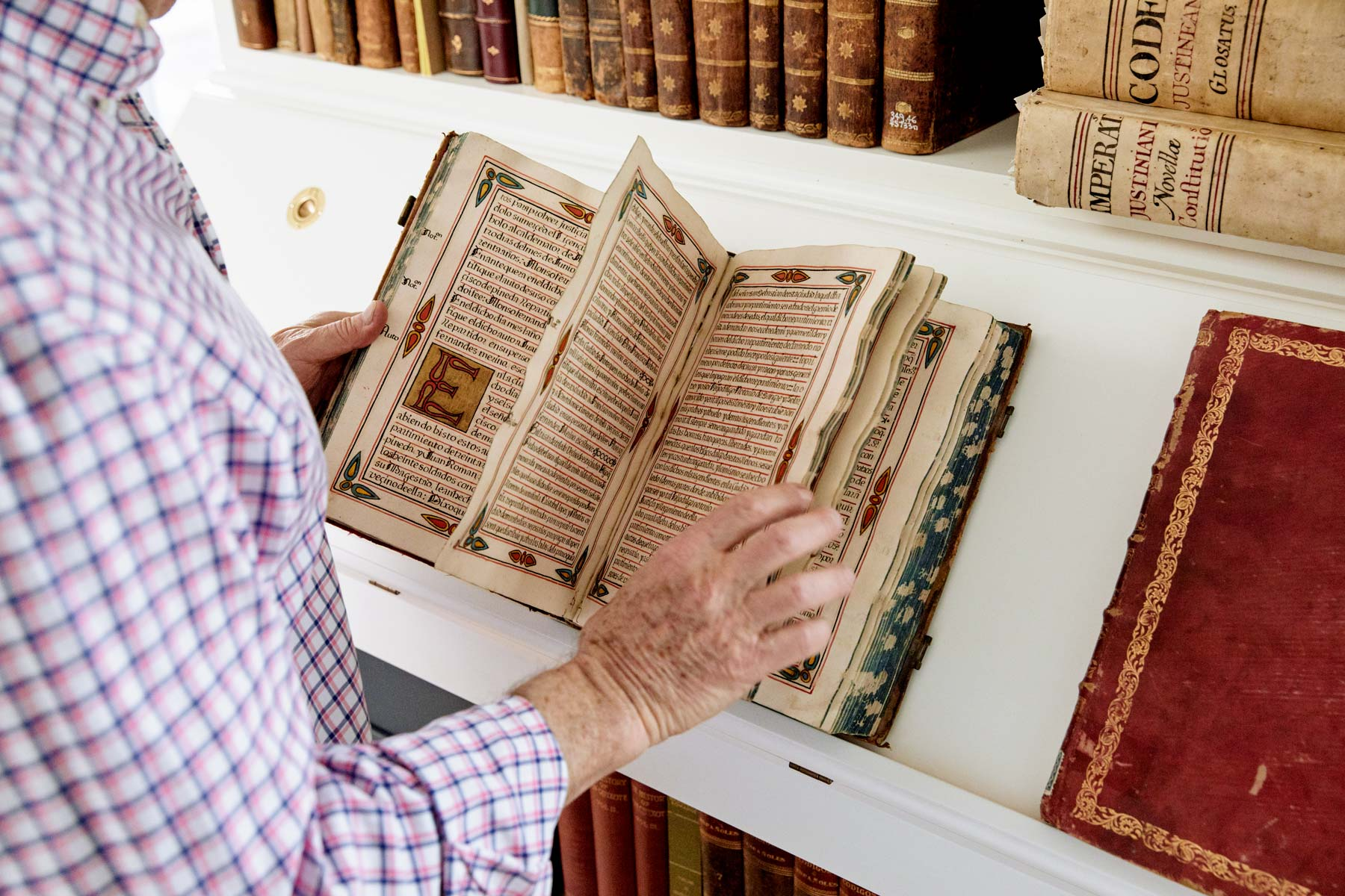 "A professor before becoming a lawyer, Goldman had a ""working scholar's"" library, which later expanded to include old books, with a focus on pre-1800s imprints. ""I had a library of 11,000 books,"" he says of his collection. ""I've now got about 340. It was very, very hard to give them up, but when we moved…let's just say that I was lovingly coaxed to do it."""