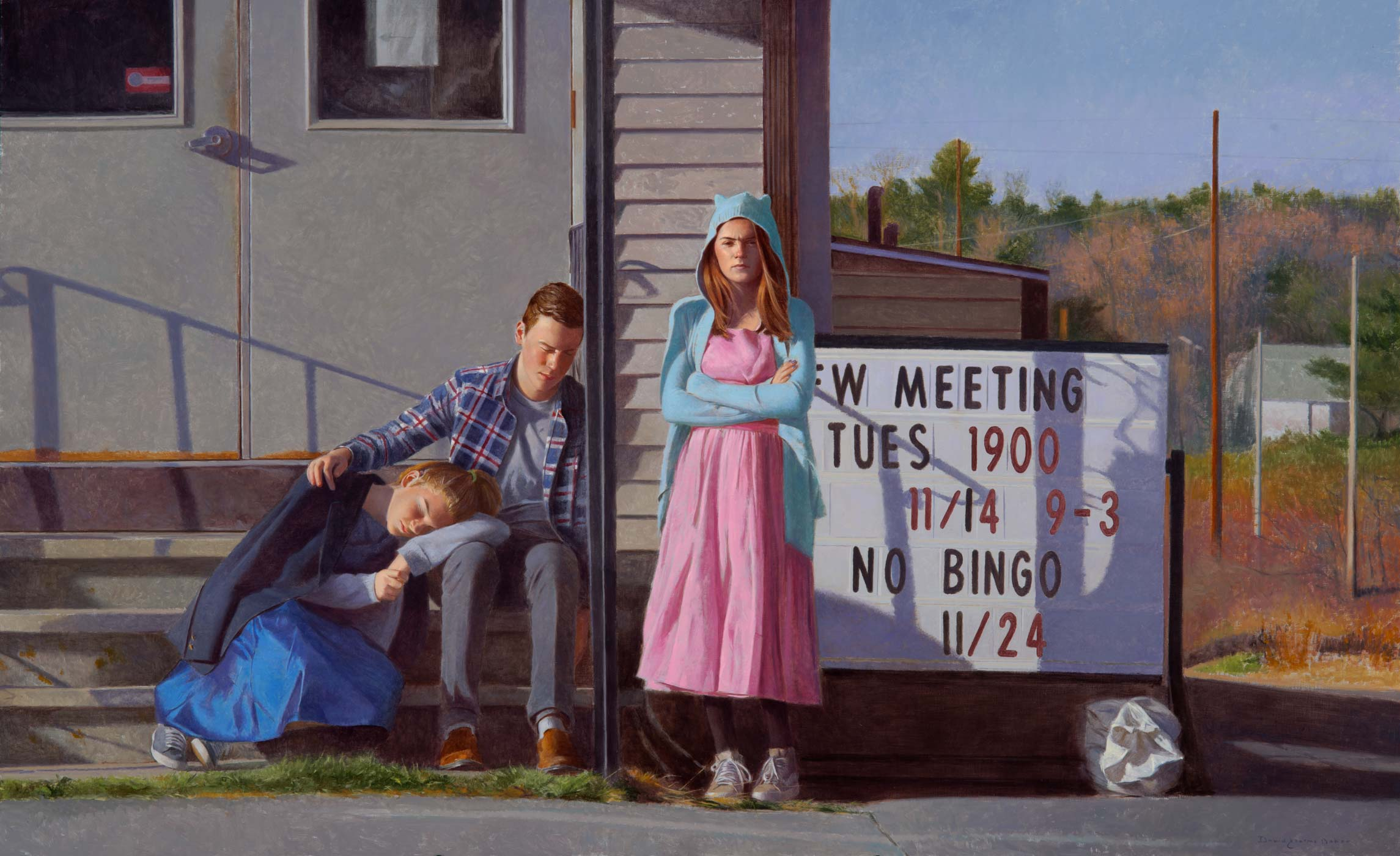 "No Bingo , 2018, oil on linen mounted on panel, 30"" x 49"""