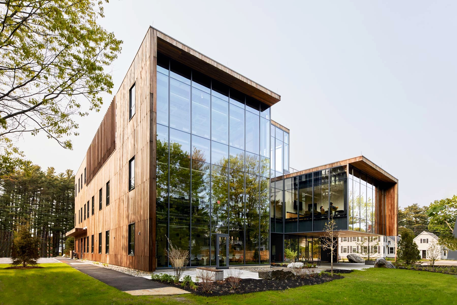 Located at the corner of Harpswell Road and College Street, the Roux Center for the Environment is Bowdoin College's newest, greenest building.