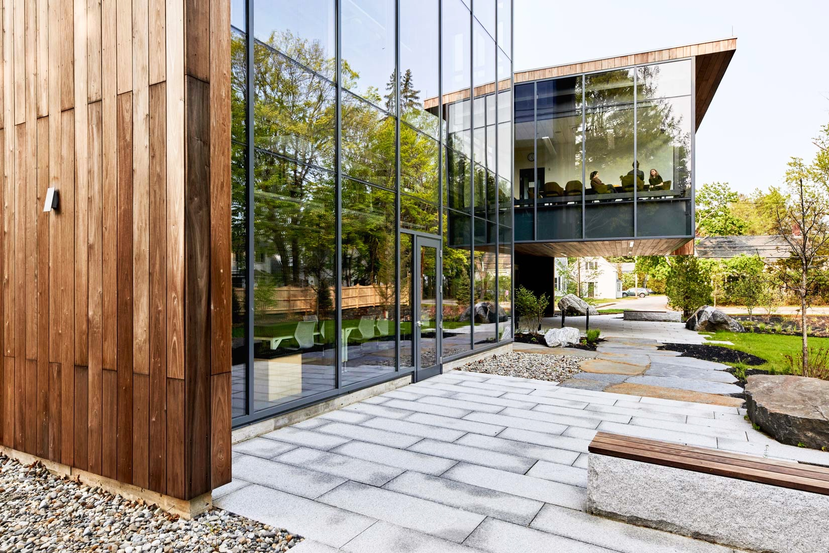 Transparency was an operative concept in the building's design and is evident in the way the classroom and conference rooms can be easily viewed from the interior and exterior.