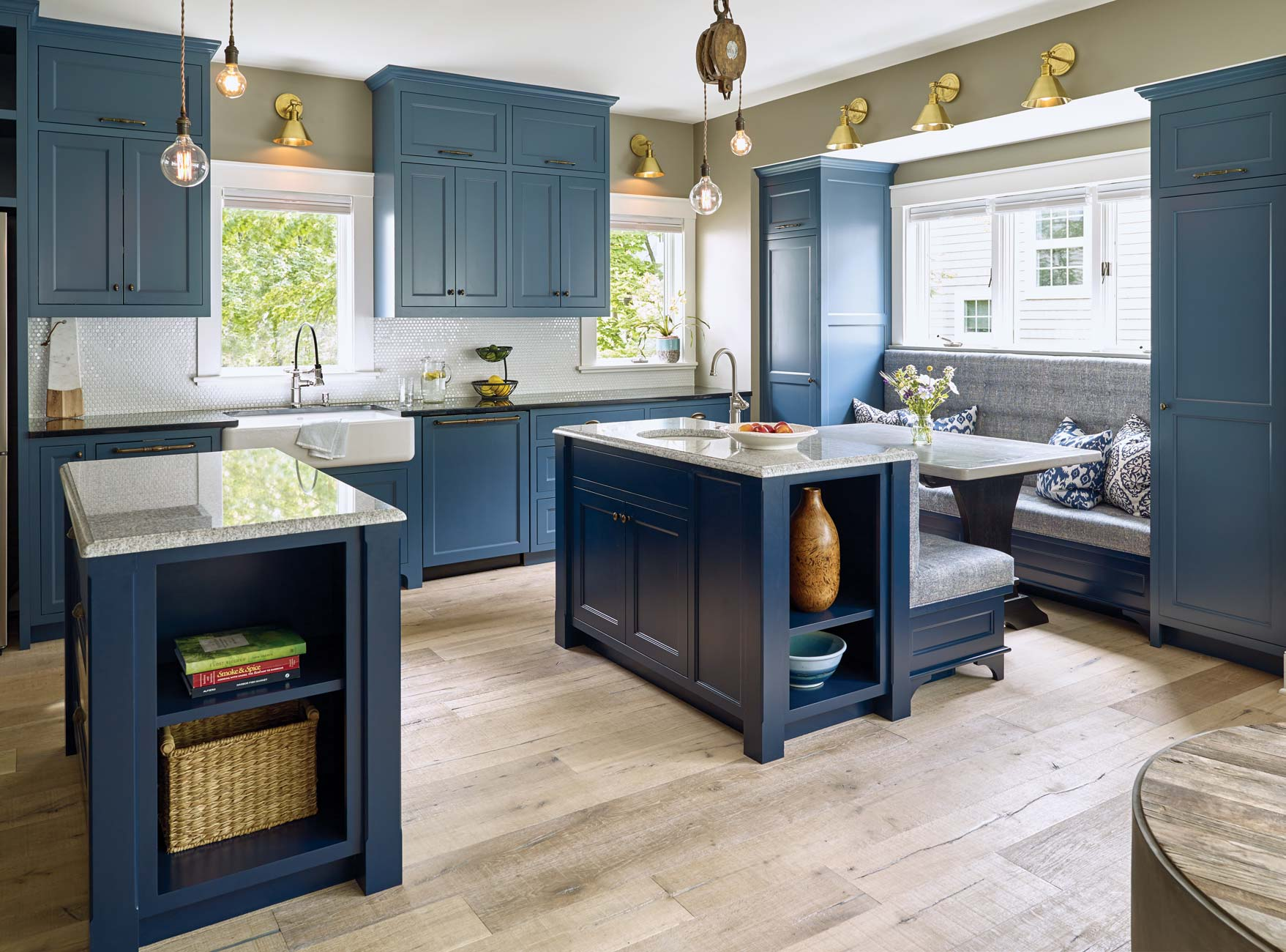 """Frequent entertainers, the Chases needed a large kitchen for guests to gather in and relax while food is cooking. """"We love the two island idea that Leah came up with,"""" Tracy says."""