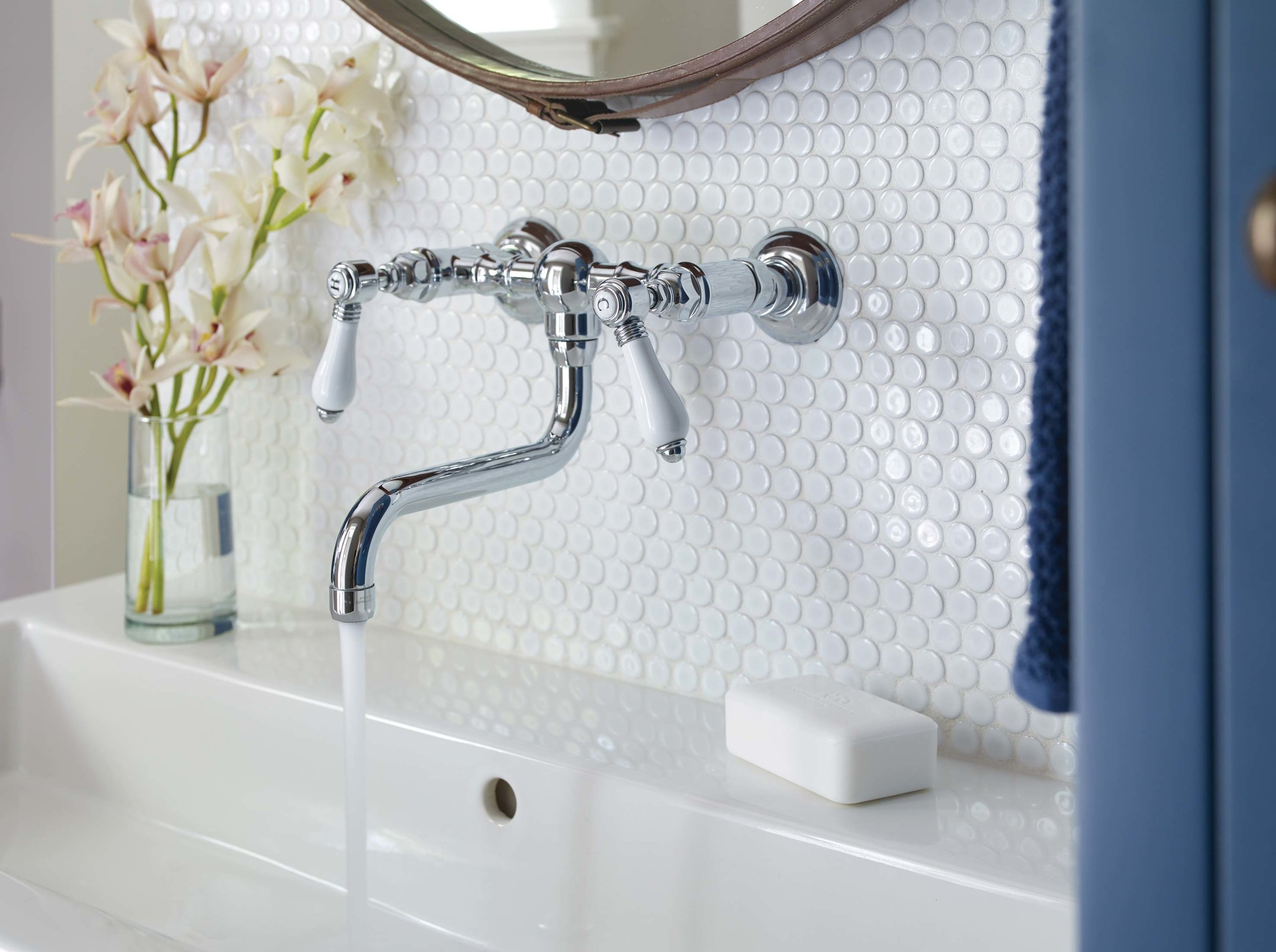A trough sink with wall fixture for quick post-beach rinsing.
