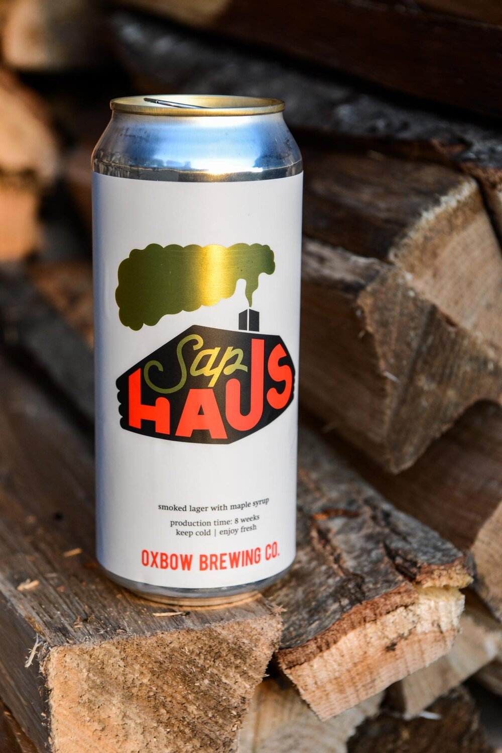 Oxbow's Sap Haus beer is a smoked lager brewed with Maine maple syrup. The distinctive label art is by Mali Welch of All Over It Maine.