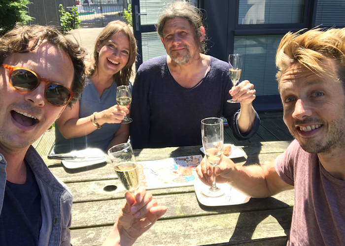 PICTURE LOCK FOR BLOODY MARIE - After an intensive edit, directors Guido van Driel, Lennert Hillege, editor Stijk Deconinck and producer Floor Onrust cheers to the picture lock!