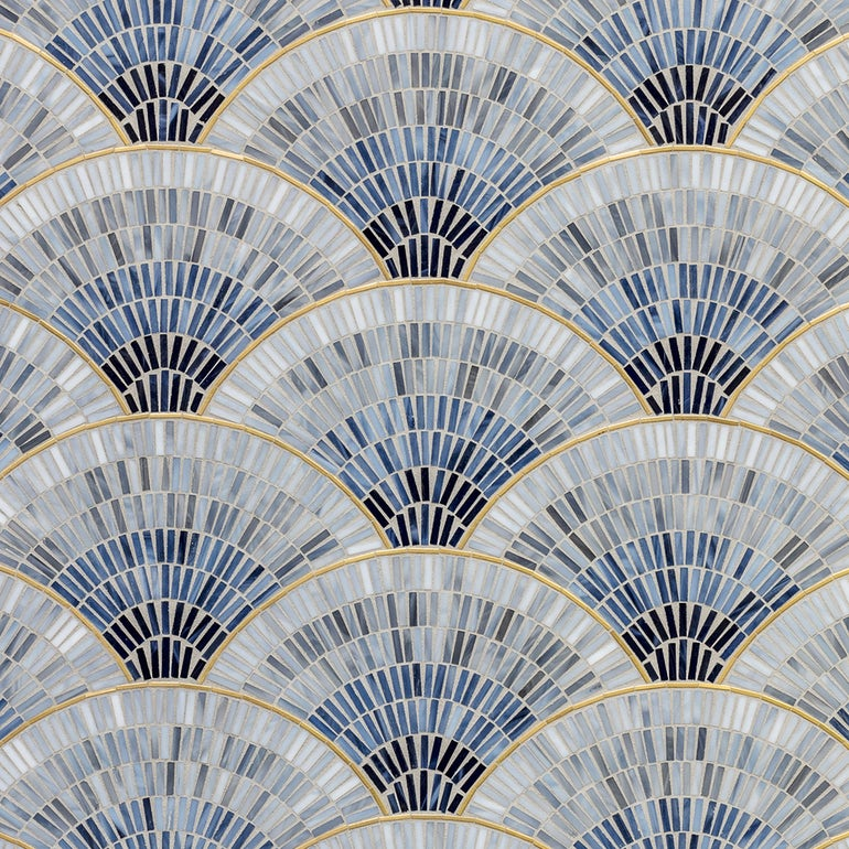 Artistic Tile  Fan Club Blue Ombre with Brass  glass mosaic tile
