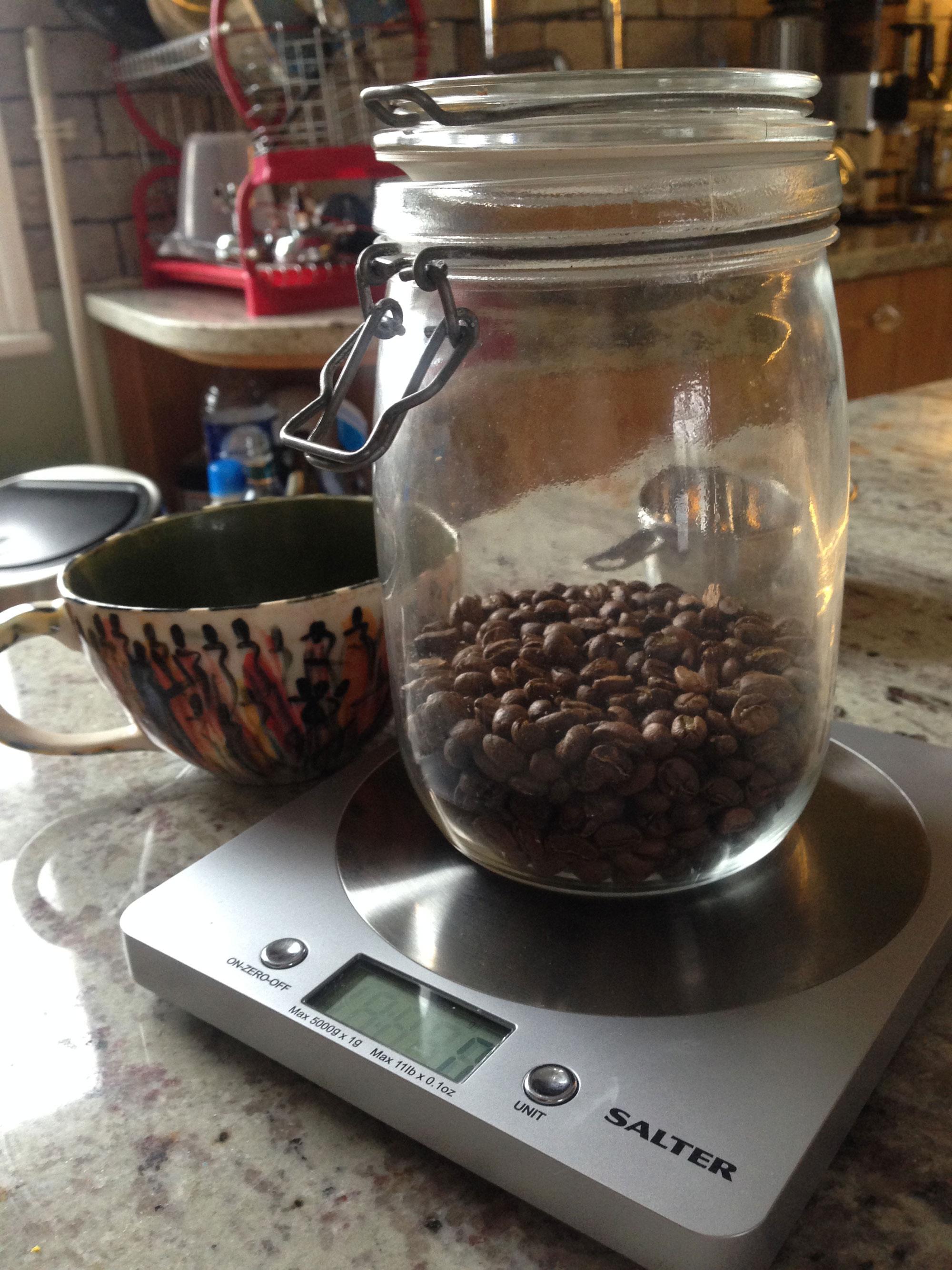 A fresh roast in an airtight jar