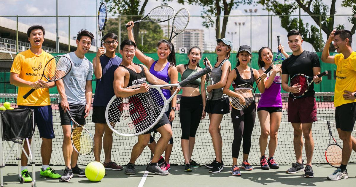 The Banana Tennis Gang having a balling good time