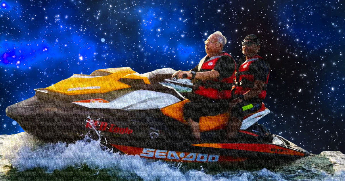 Najib wins the crowd over with jet skiing prowess and his new positioning as an Influencer.
