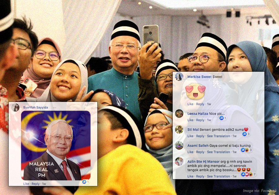 Najib entertains his followers offline and posing for selfies.