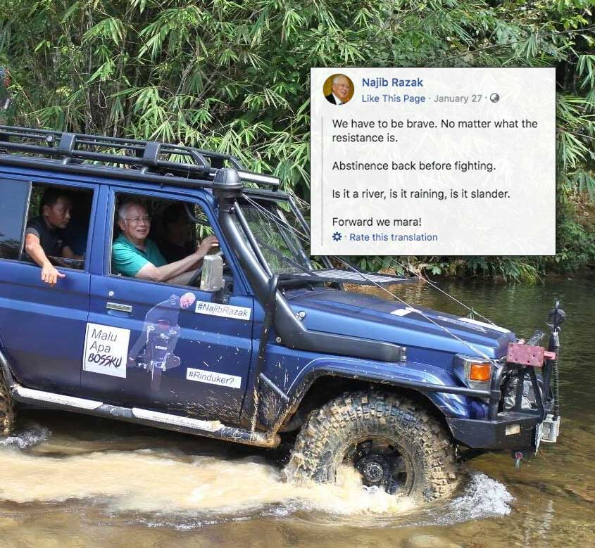 Najib poetically links life's struggles to the act of surmounting a river whilst riding in a badass looking 4x4 off-road vehicle.