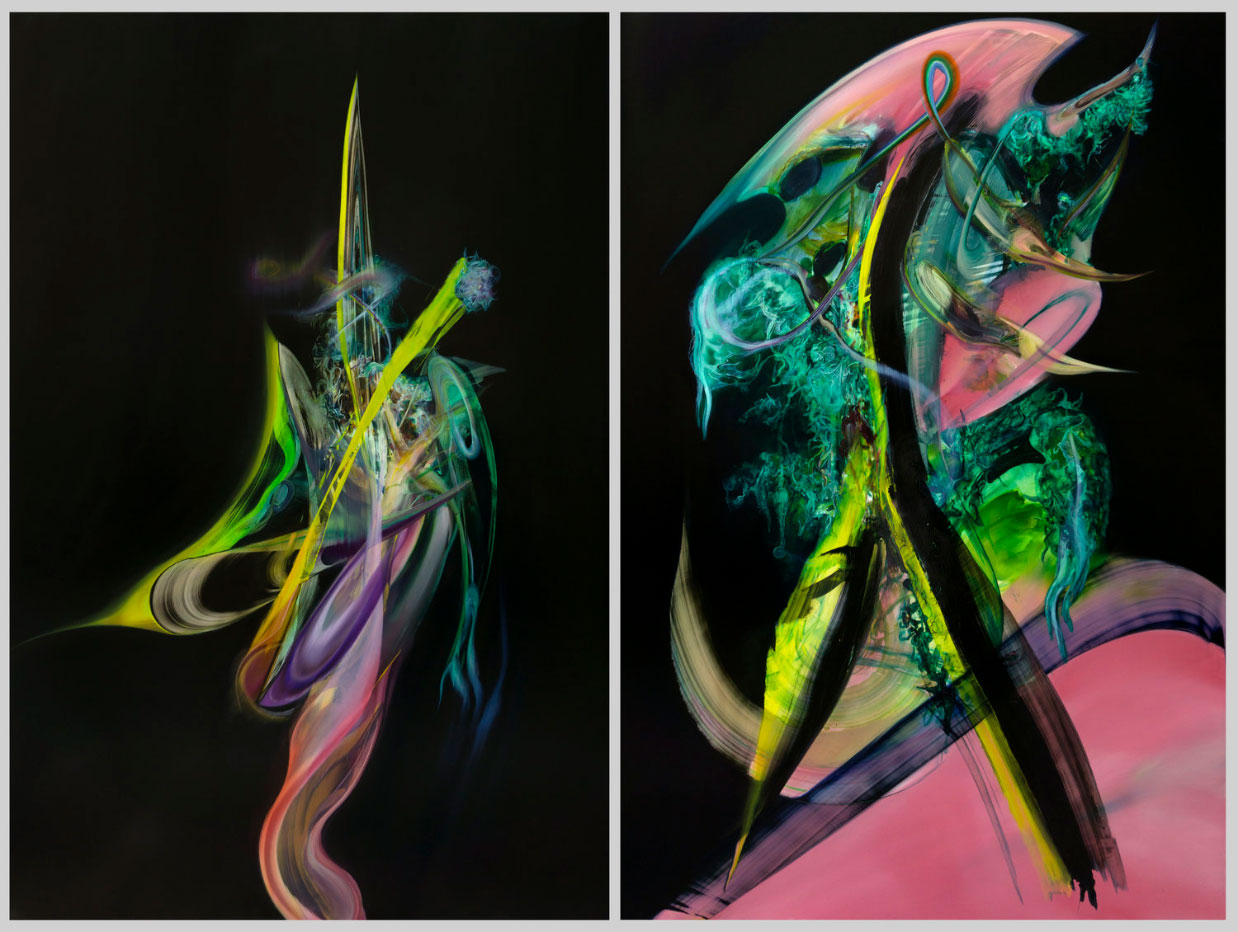 The Past Rockets Through Me, diptych.