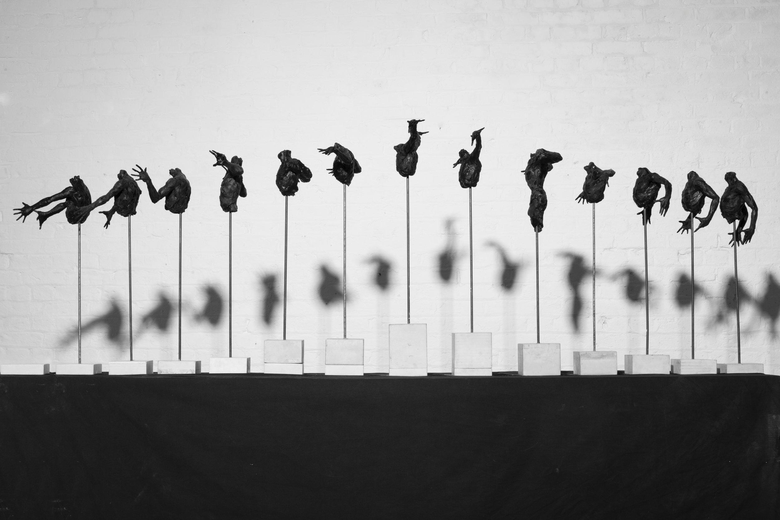 Pleasure and Terror of Levitation, 2014 Bronze, 90 x 50cm