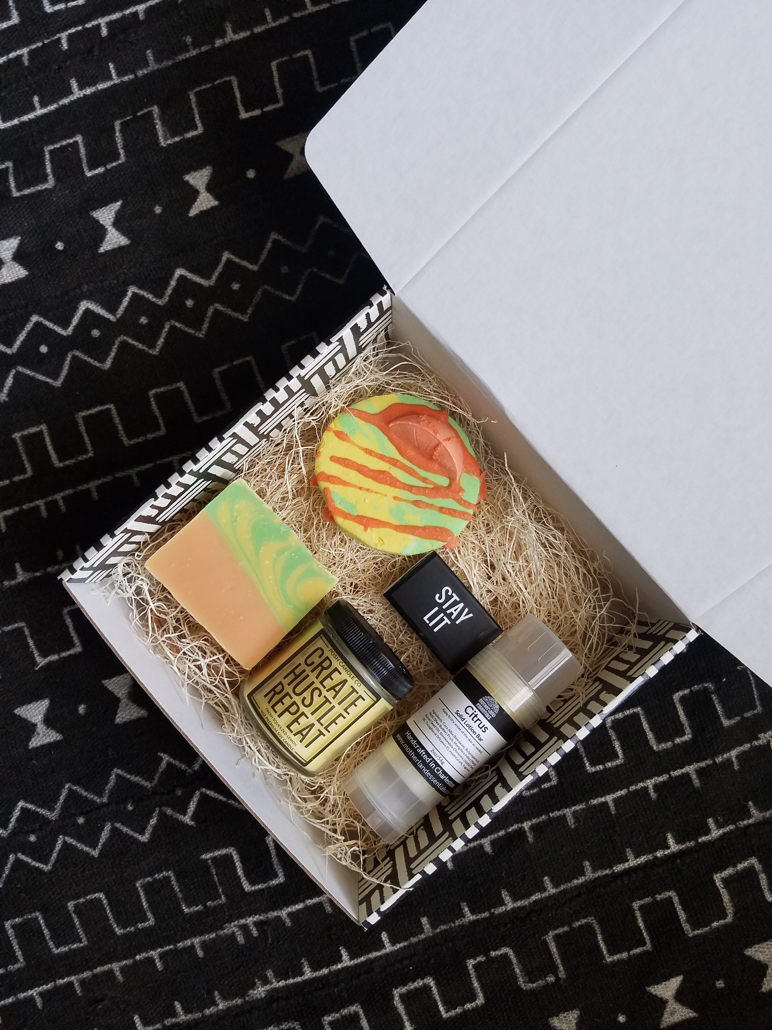 Our Essential Self-care Box filled with goodies.