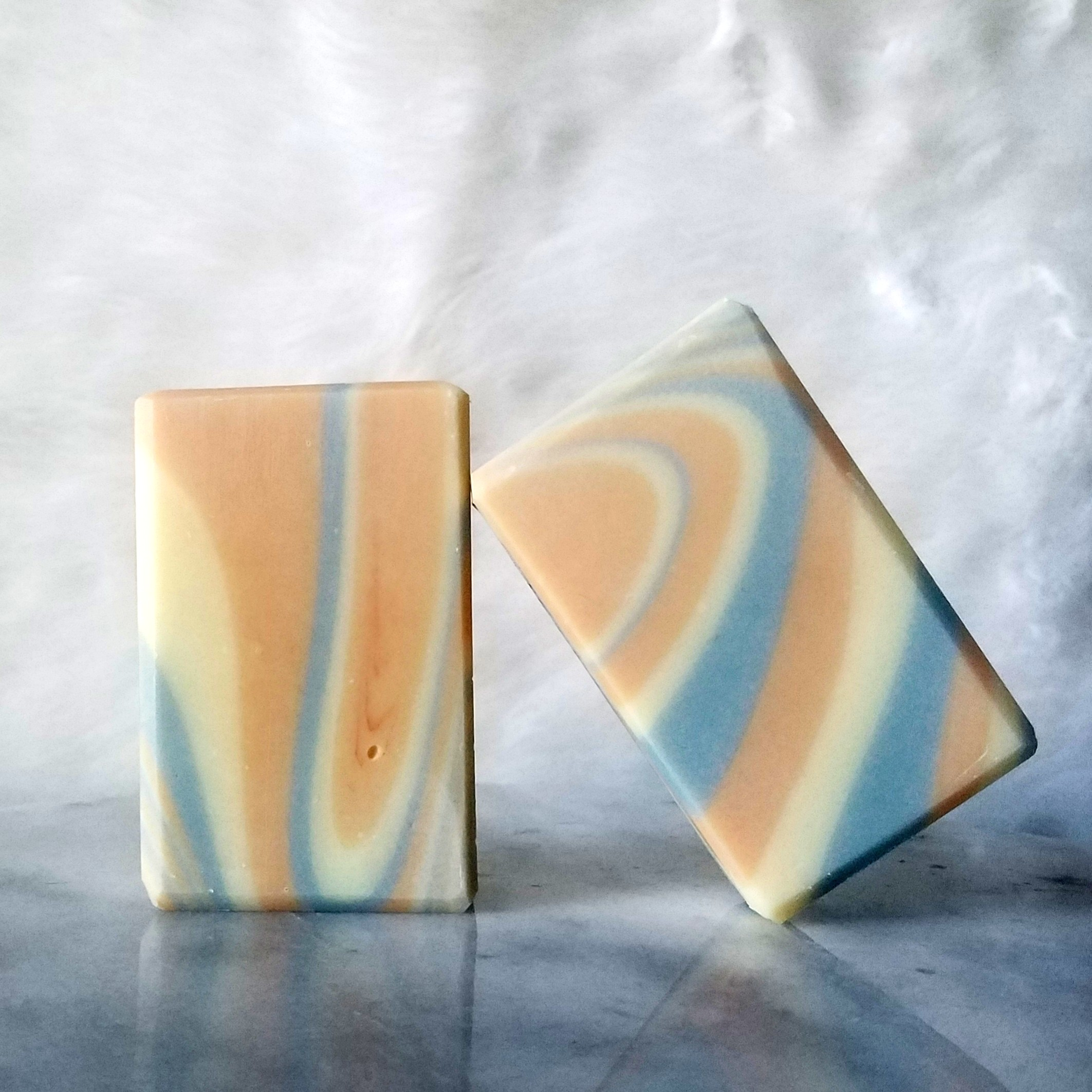 Pictured is our citronella + lemongrass artisan bar soap