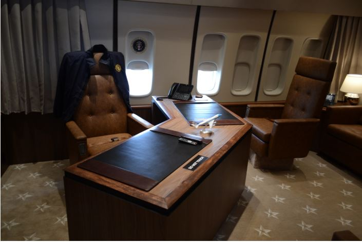 The replica Air Force One jet includes exact recreations of the rooms inside the president's plane, down to the carpet selection.   PHOTO BY ETHAN HARTLEY