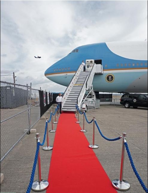 A red carpet beckons visitors who want to tour the replica Air Force Oneat Quonset State Airport. [The Providence Journal / Sandor Bodo]